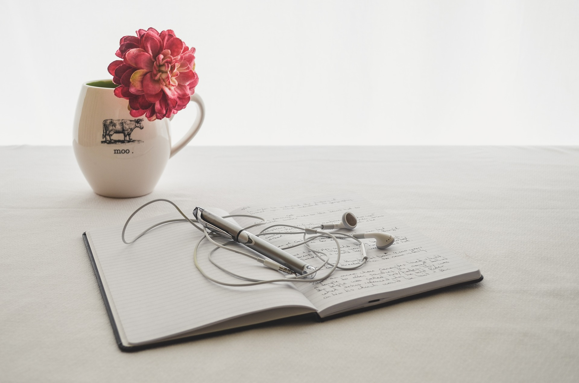 Journal and earbuds