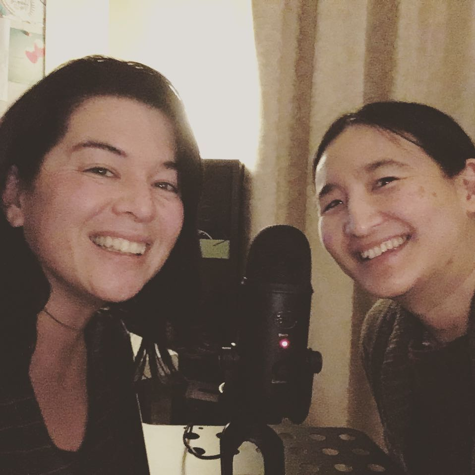 Bec and Karen recording this episode