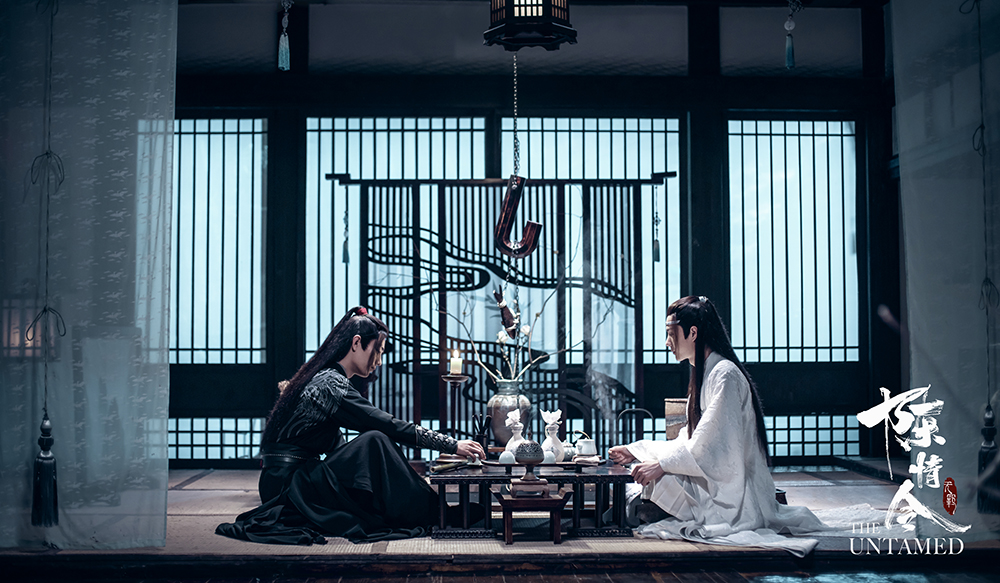 The Untamed: Wei Wuxian and Lan Wangji seated
