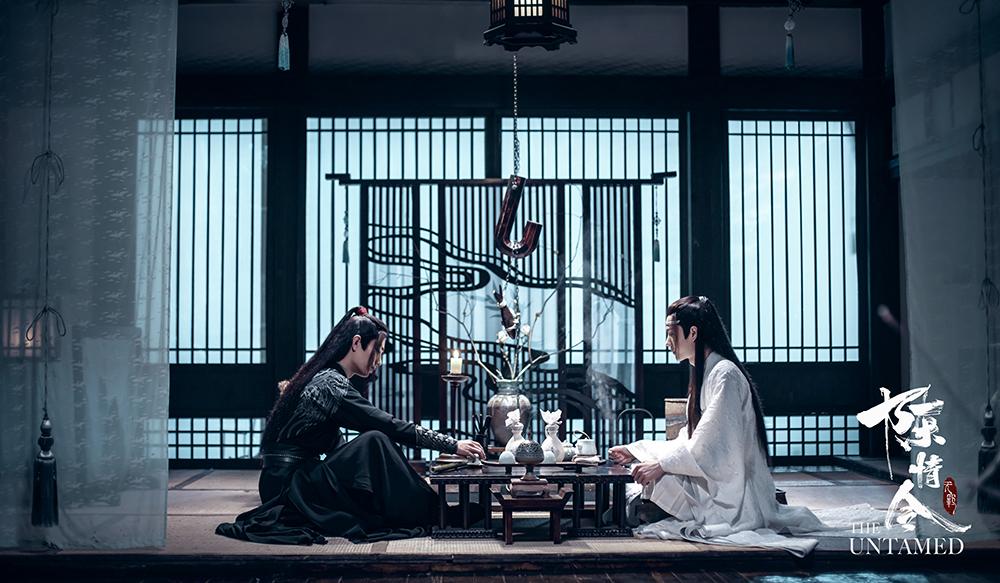 The Untamed: Wei Wuxian and Lan Wangji seated